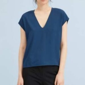 Everlane Japanese Go Weave Navy V Neck Blouse Sz 0